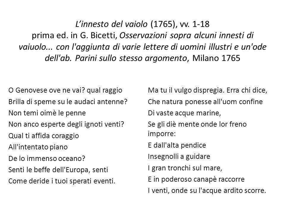 Linnesto del vaiolo (1765), vv. 1-18 prima ed. in G. Bicetti, Osservazioni sopra alcuni innesti di vaiuolo... con l'aggiunta di varie lettere di uomin