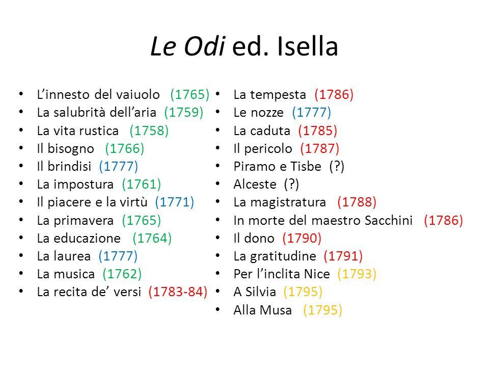 Le Odi ed. Isella Linnesto del vaiuolo (1765) La salubrità dellaria (1759) La vita rustica (1758) Il bisogno (1766) Il brindisi (1777) La impostura (1
