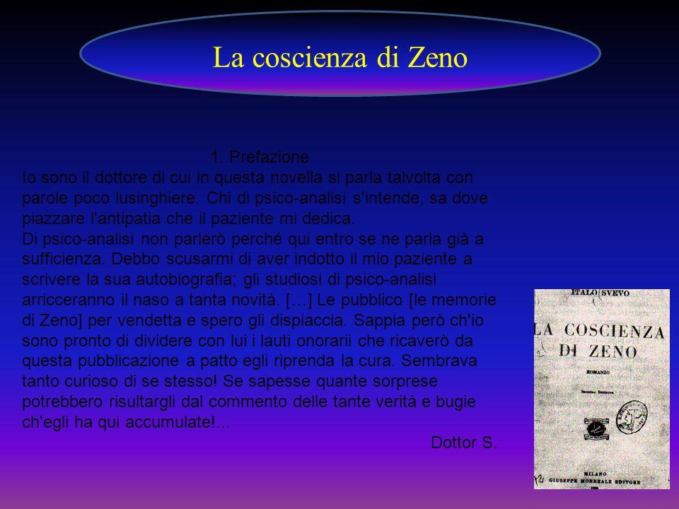 La coscienza di Zeno 1. Prefazione Io sono il dottore di cui in questa novella si parla talvolta con parole poco lusinghiere. Chi di psico-analisi s'i
