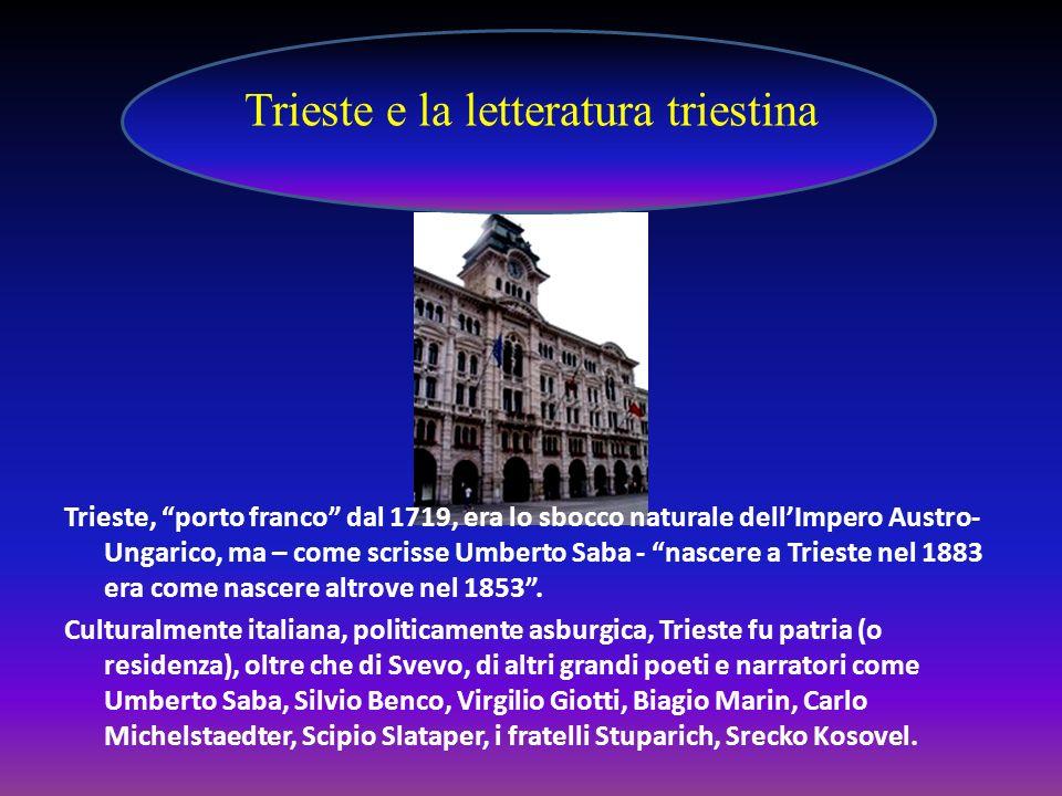 Trieste, porto franco dal 1719, era lo sbocco naturale dellImpero Austro- Ungarico, ma – come scrisse Umberto Saba - nascere a Trieste nel 1883 era co