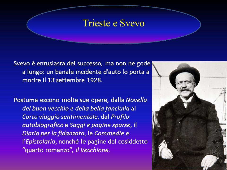Svevo è entusiasta del successo, ma non ne gode a lungo: un banale incidente dauto lo porta a morire il 13 settembre 1928. Postume escono molte sue op