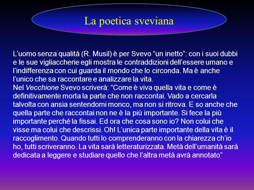 Luomo senza qualità (R. Musil) è per Svevo un inetto: con i suoi dubbi e le sue vigliaccherie egli mostra le contraddizioni dellessere umano e lindiff