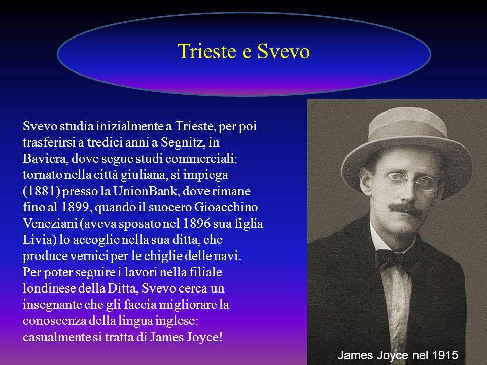 Svevo studia inizialmente a Trieste, per poi trasferirsi a tredici anni a Segnitz, in Baviera, dove segue studi commerciali: tornato nella città giuli