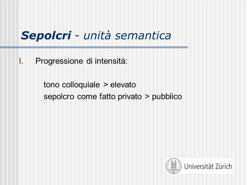 Sepolcri - unità semantica I.Progressione di intensità: tono colloquiale > elevato sepolcro come fatto privato > pubblico
