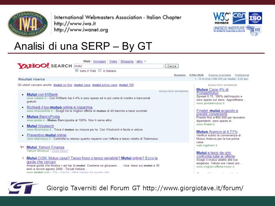 Quality Rater – By GT Giorgio Taverniti del Forum GT http://www.giorgiotave.it/forum/ http://www.giorgiotave.it/forum/seo-focus/38272-faq-sui-quality-rater.html Sfatiamo dei miti: - Una pagina con contenuti originali (anche se pochi e non utili per lutente) e annunci PPC non è SPAM - Testi di servizio o di navigazione nascosti via CSS o Javascript, non sono SPAM - Testi corposi (originali e naturali) spezzati parzialmente via CSS o Javascript ma richiamabili in maniera evidente non sono SPAM - Loutput RDF di DMOZ + annunci in PPC è SPAM, senza PPC non è SPAM ma è comunque poco rilevante, tranne casi in cui sia arricchito di informazioni (mai successo in 13 mesi…) - I QR non recensiscono siti a piacere (tranne per alcuni progetti in cui è possibile suggerirli) - Mettere un numero non naturale di kws in posizioni non immediatamente visibili allutente, o con tecniche di scorrimento, è suscettibile ad essere valutato SPAM.