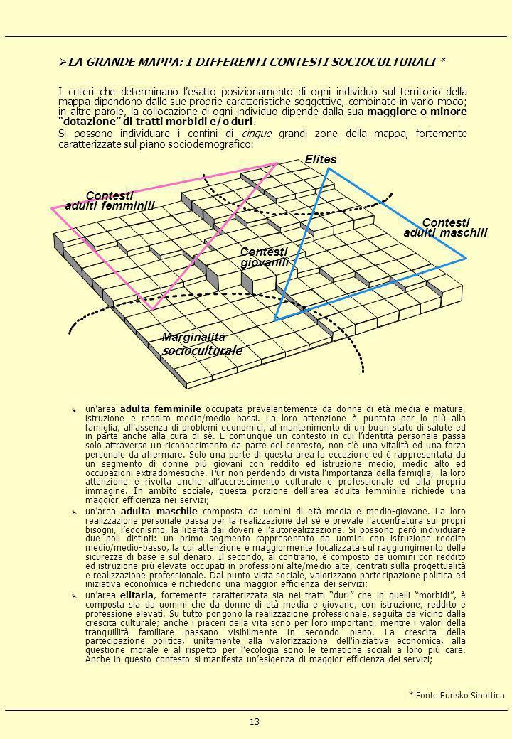 13 LA GRANDE MAPPA: I DIFFERENTI CONTESTI SOCIOCULTURALI * I criteri che determinano lesatto posizionamento di ogni individuo sul territorio della map