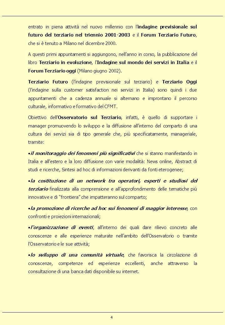 4 entrato in piena attività nel nuovo millennio con lindagine previsionale sul futuro del terziario nel triennio 2001-2003 e il Forum Terziario Futuro