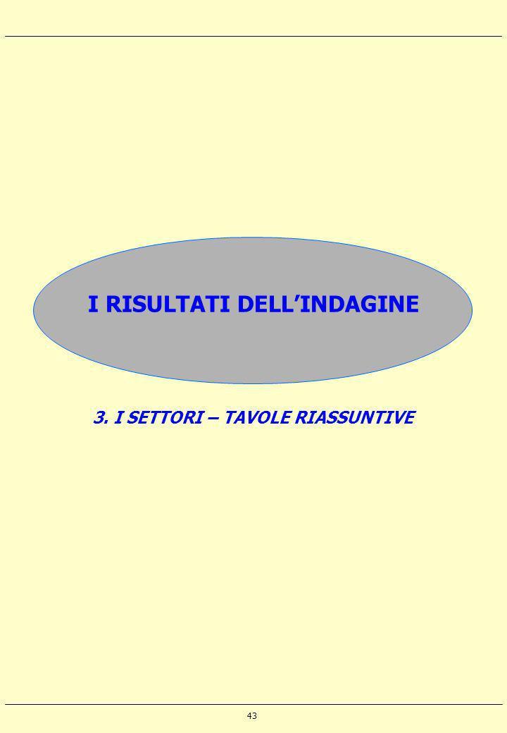 43 I RISULTATI DELLINDAGINE 3. I SETTORI – TAVOLE RIASSUNTIVE