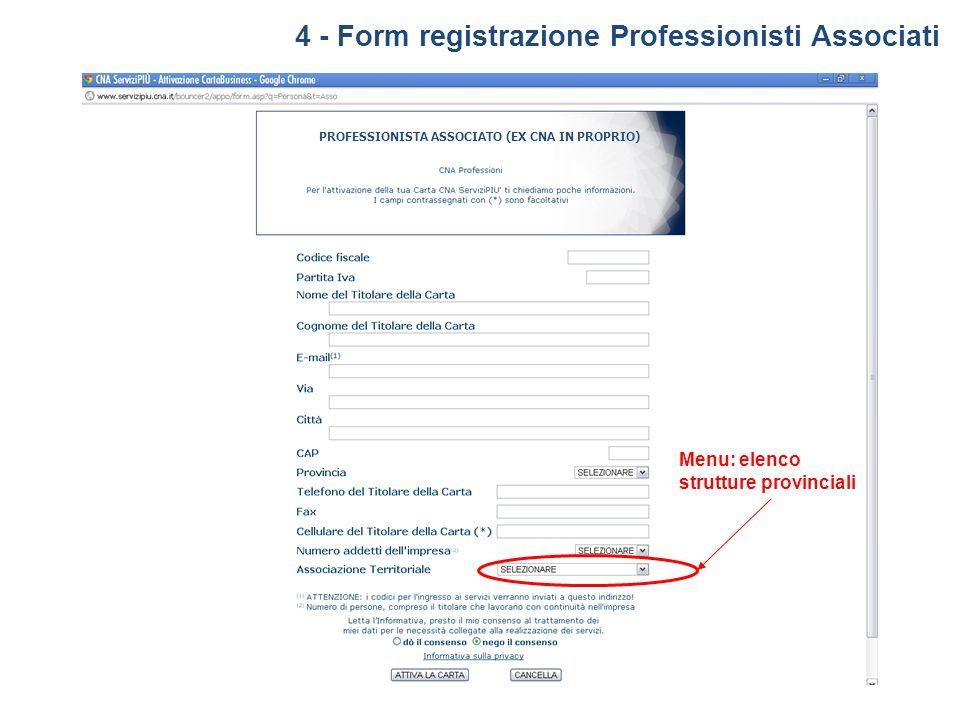 4 - Form registrazione Professionisti Associati PROFESSIONISTA ASSOCIATO (EX CNA IN PROPRIO) Menu: elenco strutture provinciali