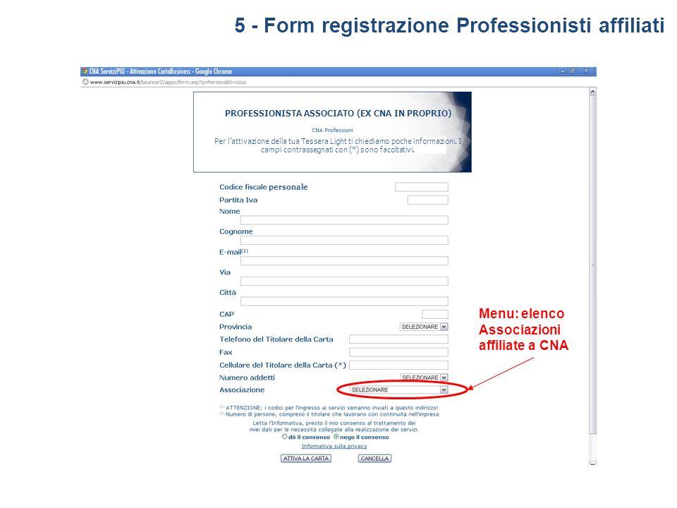 5 - Form registrazione Professionisti affiliati Per lattivazione della tua Tessera Light ti chiediamo poche informazioni. I campi contrassegnati con (