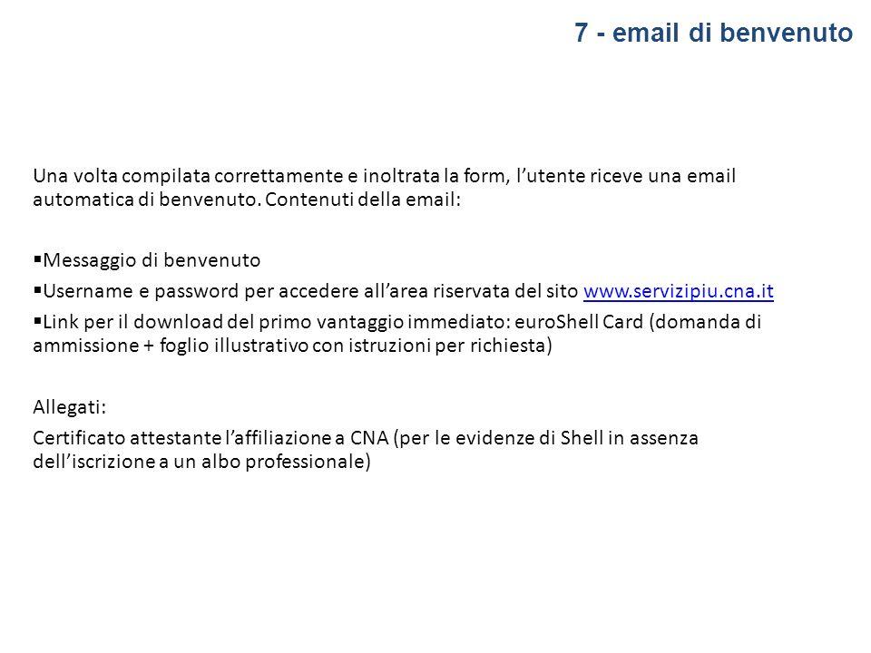 7 - email di benvenuto Una volta compilata correttamente e inoltrata la form, lutente riceve una email automatica di benvenuto. Contenuti della email: