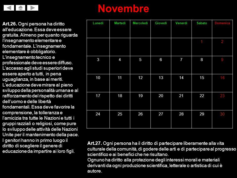 Novembre Art.26.Ogni persona ha diritto alleducazione.