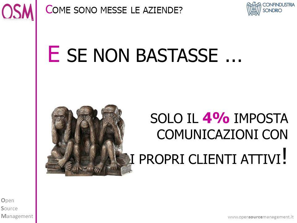 O pen S ource M anagement www.opensourcemanagement.it E SE NON BASTASSE … SOLO IL 4% IMPOSTA COMUNICAZIONI CON I PROPRI CLIENTI ATTIVI .
