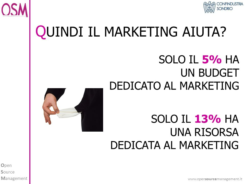 O pen S ource M anagement www.opensourcemanagement.it SOLO IL 5% HA UN BUDGET DEDICATO AL MARKETING SOLO IL 13% HA UNA RISORSA DEDICATA AL MARKETING Q UINDI IL MARKETING AIUTA?