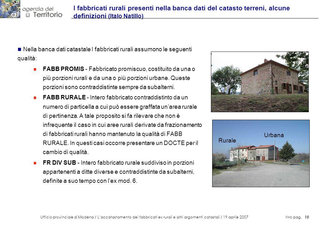 Ufficio provinciale di Modena / Laccatastamento dei fabbricati ex rurali e altri argomenti catastali / 19 aprile 2007 Nro pag. 10 I fabbricati rurali