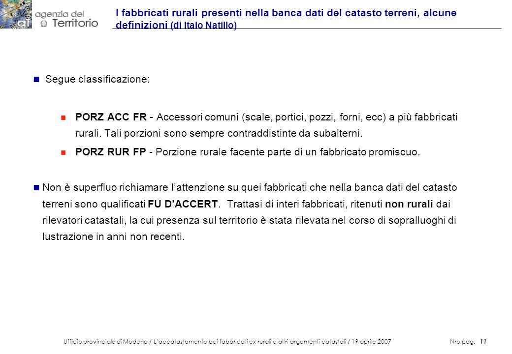 Ufficio provinciale di Modena / Laccatastamento dei fabbricati ex rurali e altri argomenti catastali / 19 aprile 2007 Nro pag. 11 I fabbricati rurali