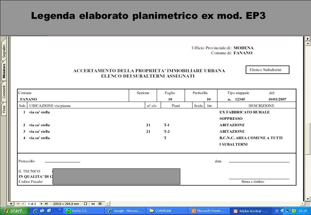 Ufficio provinciale di Modena / Laccatastamento dei fabbricati ex rurali e altri argomenti catastali / 19 aprile 2007 Nro pag. 18 Legenda elaborato pl