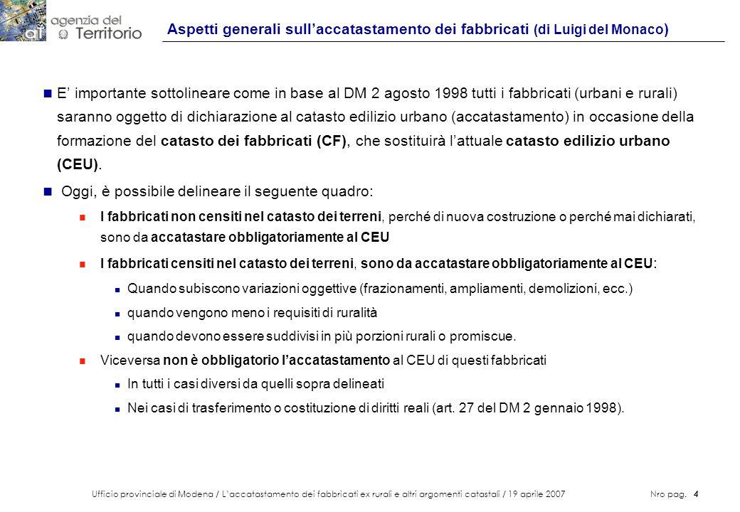 Ufficio provinciale di Modena / Laccatastamento dei fabbricati ex rurali e altri argomenti catastali / 19 aprile 2007 Nro pag. 4 Aspetti generali sull