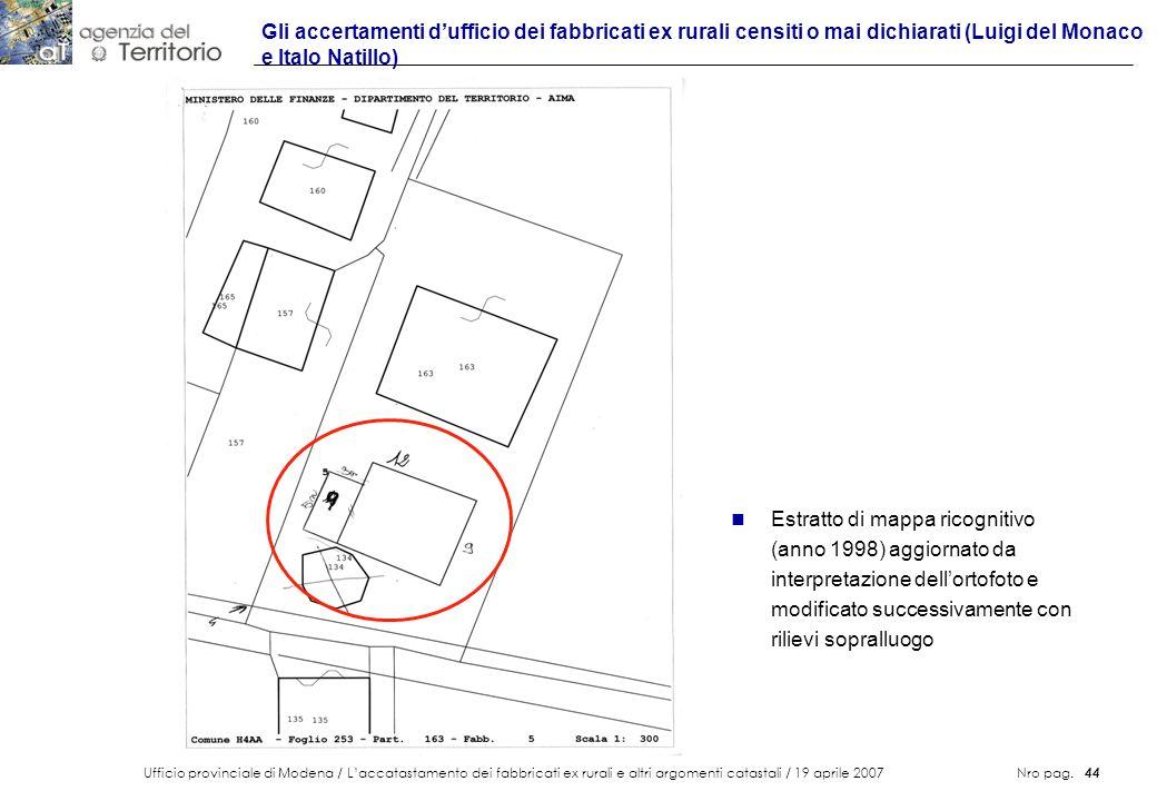 Ufficio provinciale di Modena / Laccatastamento dei fabbricati ex rurali e altri argomenti catastali / 19 aprile 2007 Nro pag. 44 Gli accertamenti duf