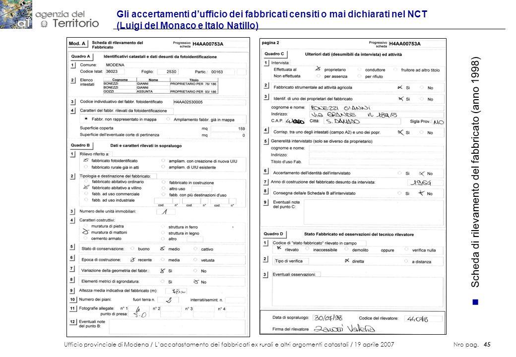 Ufficio provinciale di Modena / Laccatastamento dei fabbricati ex rurali e altri argomenti catastali / 19 aprile 2007 Nro pag. 45 Gli accertamenti duf