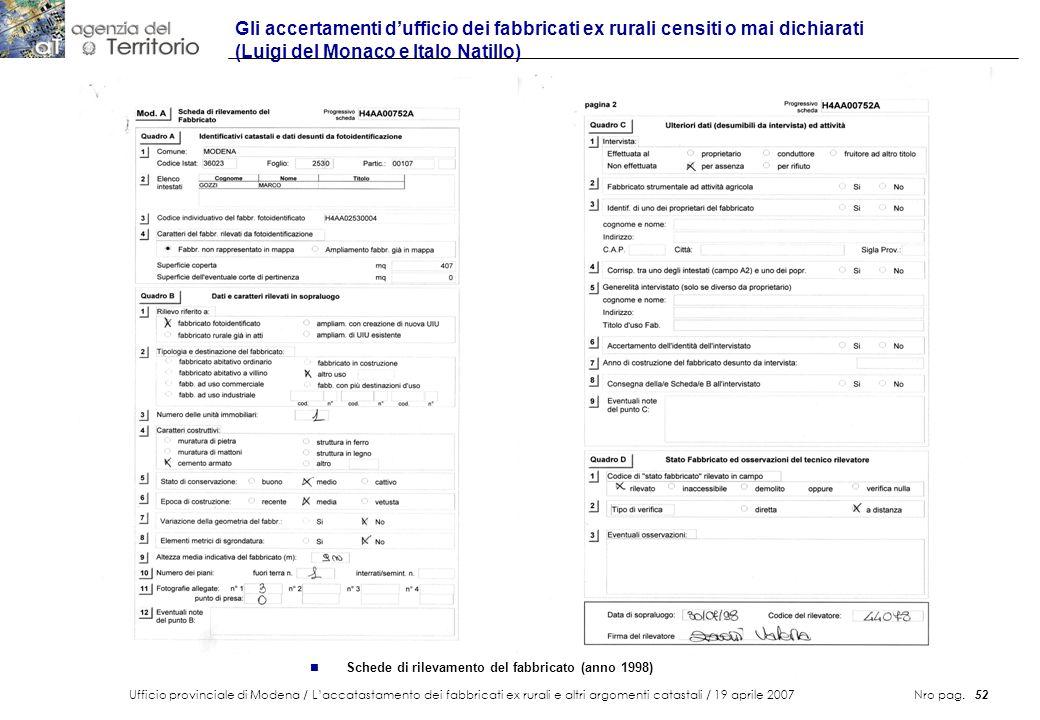 Ufficio provinciale di Modena / Laccatastamento dei fabbricati ex rurali e altri argomenti catastali / 19 aprile 2007 Nro pag. 52 Gli accertamenti duf