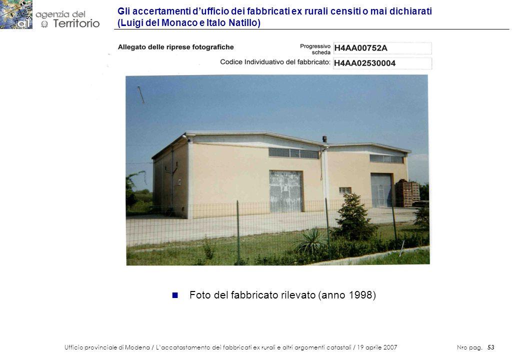 Ufficio provinciale di Modena / Laccatastamento dei fabbricati ex rurali e altri argomenti catastali / 19 aprile 2007 Nro pag. 53 Gli accertamenti duf