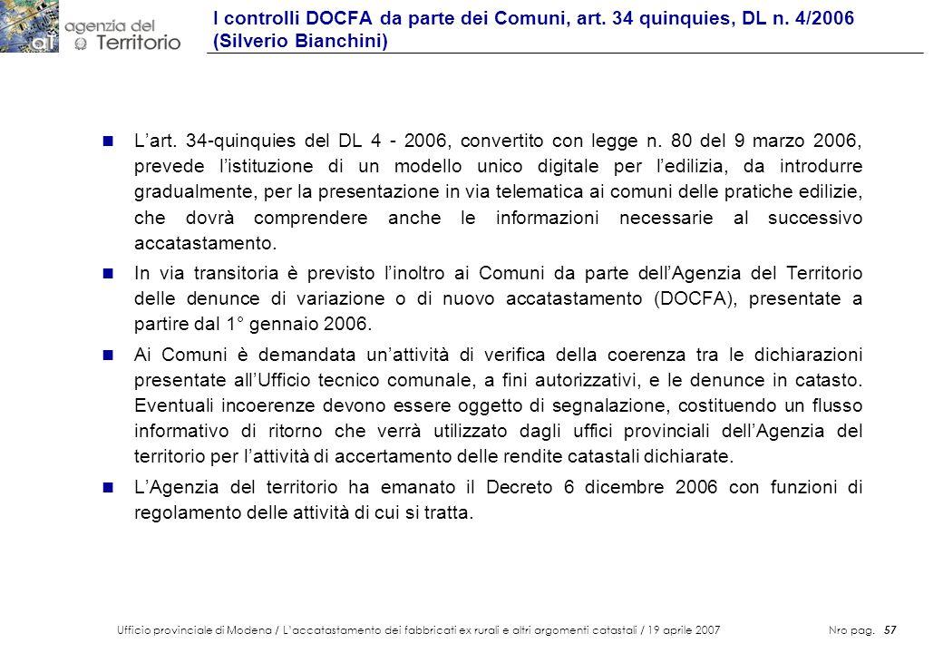 Ufficio provinciale di Modena / Laccatastamento dei fabbricati ex rurali e altri argomenti catastali / 19 aprile 2007 Nro pag. 57 n Lart. 34-quinquies
