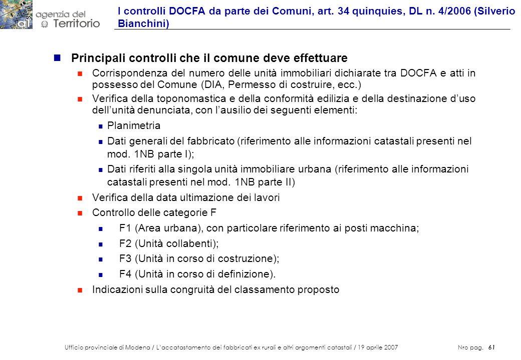 Ufficio provinciale di Modena / Laccatastamento dei fabbricati ex rurali e altri argomenti catastali / 19 aprile 2007 Nro pag. 61 n Principali control