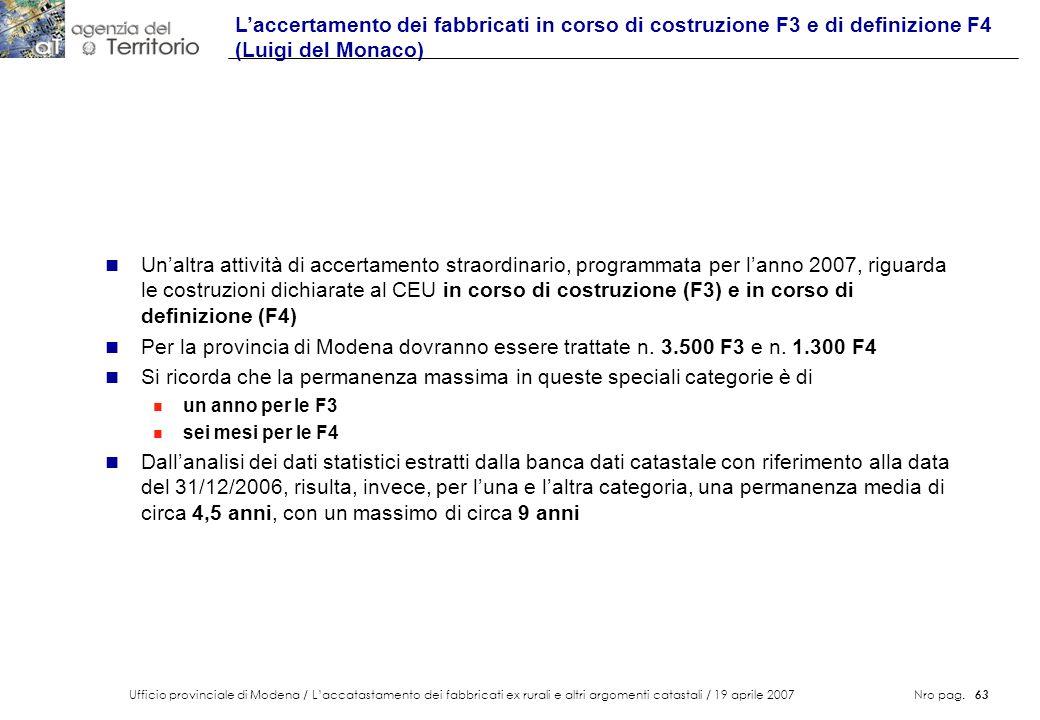 Ufficio provinciale di Modena / Laccatastamento dei fabbricati ex rurali e altri argomenti catastali / 19 aprile 2007 Nro pag. 63 n Unaltra attività d