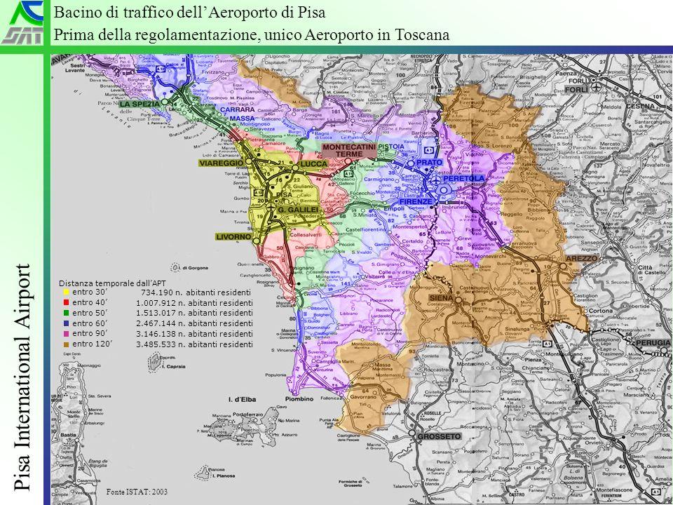 Industria dellospitalità si confronta su nuovi scenari – Grado 20 Giugno 2005 Pisa International Airport 2 Distanza temporale dallAPT entro 30 entro 40 entro 50 entro 60 entro 90 entro 120 734.190 n.