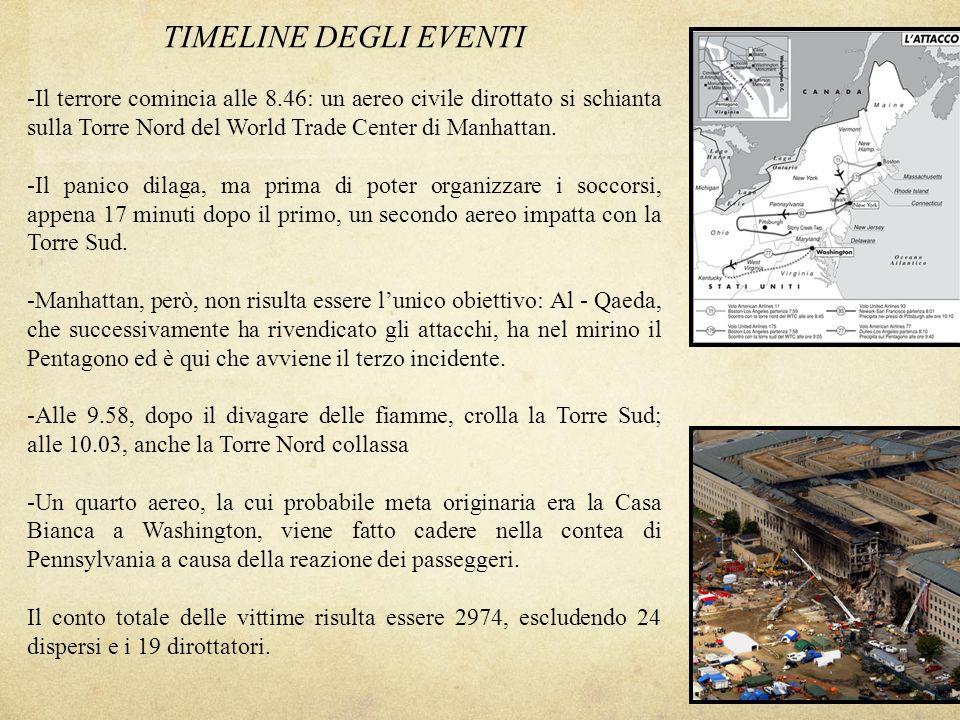 TIMELINE DEGLI EVENTI -Il terrore comincia alle 8.46: un aereo civile dirottato si schianta sulla Torre Nord del World Trade Center di Manhattan. -Il