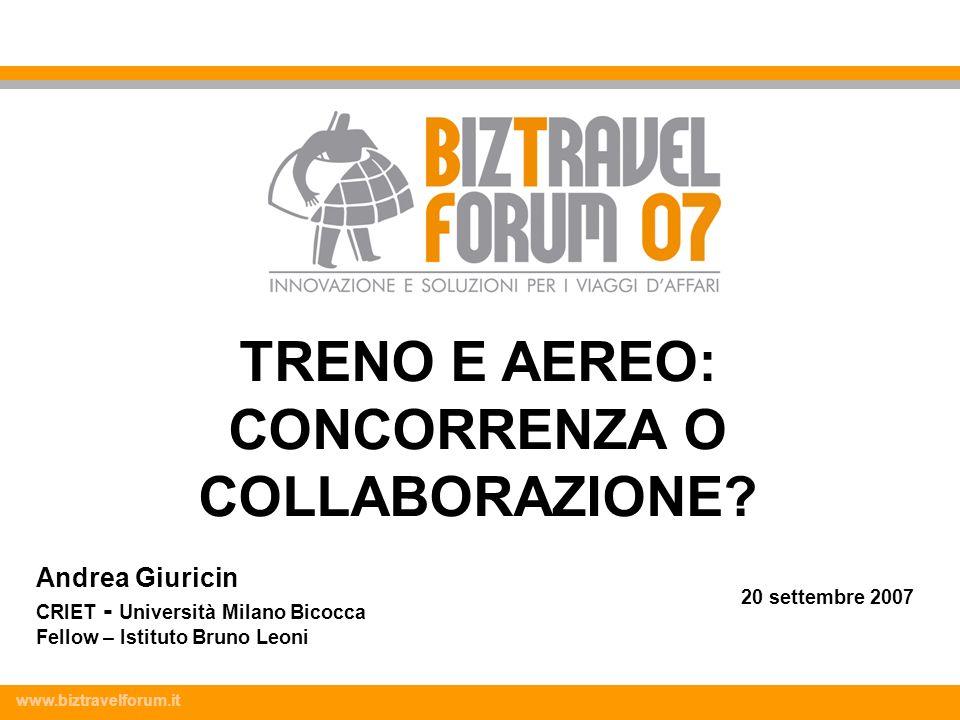 www.biztravelforum.it Andrea Giuricin CRIET - Università Milano Bicocca Fellow – Istituto Bruno Leoni 20 settembre 2007 TRENO E AEREO: CONCORRENZA O C