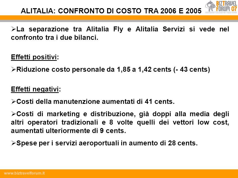 www.biztravelforum.it La separazione tra Alitalia Fly e Alitalia Servizi si vede nel confronto tra i due bilanci. Effetti positivi: Riduzione costo pe