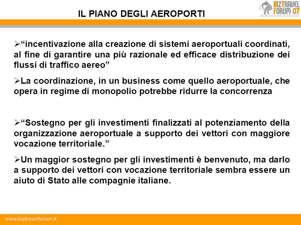 www.biztravelforum.it incentivazione alla creazione di sistemi aeroportuali coordinati, al fine di garantire una più razionale ed efficace distribuzio