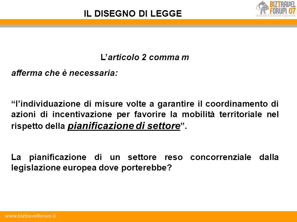 www.biztravelforum.it Larticolo 2 comma m afferma che è necessaria: lindividuazione di misure volte a garantire il coordinamento di azioni di incentiv