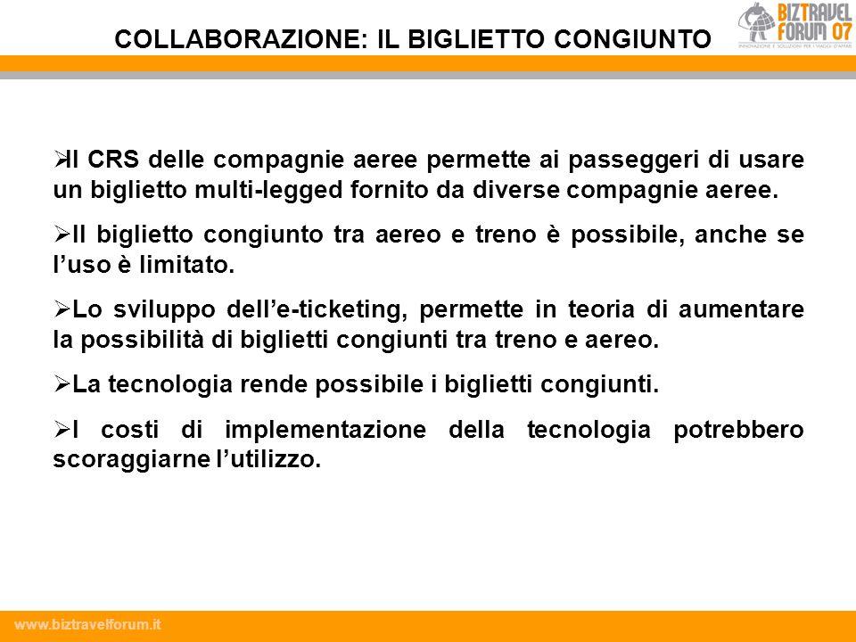 www.biztravelforum.it Il CRS delle compagnie aeree permette ai passeggeri di usare un biglietto multi-legged fornito da diverse compagnie aeree. Il bi