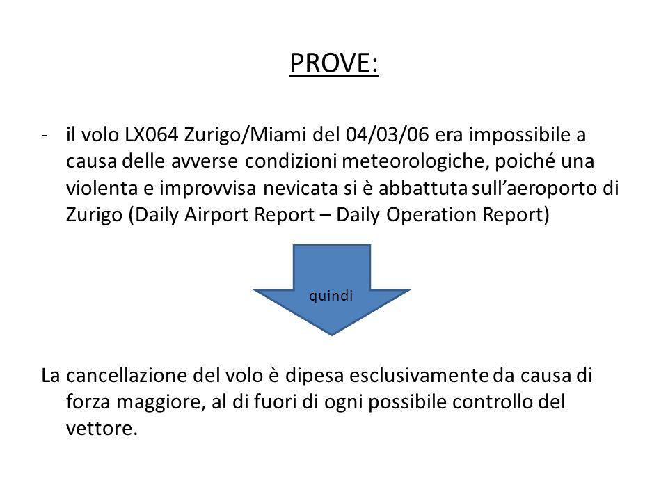 PROVE: -il volo LX064 Zurigo/Miami del 04/03/06 era impossibile a causa delle avverse condizioni meteorologiche, poiché una violenta e improvvisa nevi