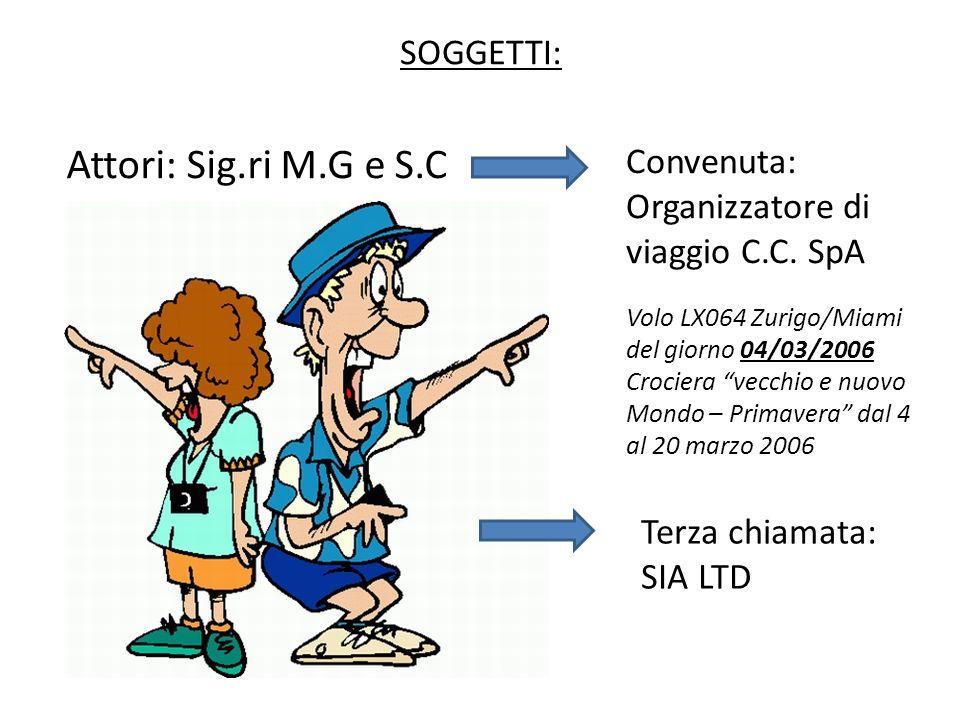 SOGGETTI: Attori: Sig.ri M.G e S.C Convenuta: Organizzatore di viaggio C.C. SpA Volo LX064 Zurigo/Miami del giorno 04/03/2006 Crociera vecchio e nuovo