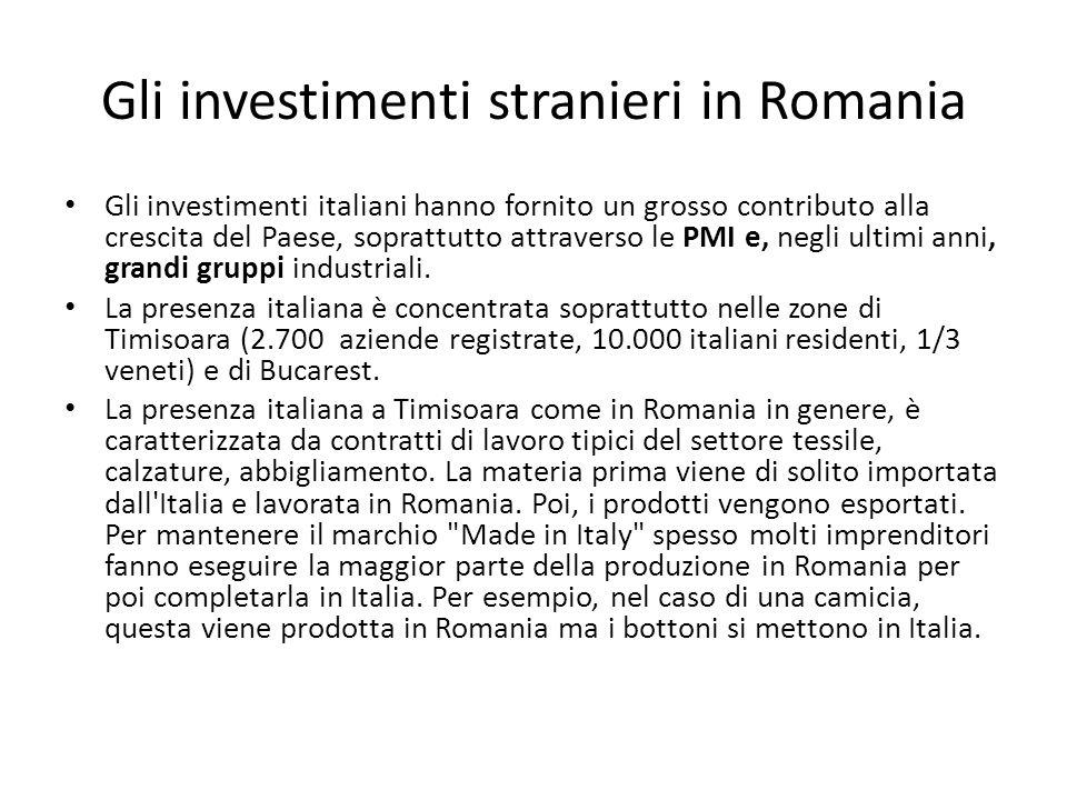 Gli investimenti stranieri in Romania Gli investimenti italiani hanno fornito un grosso contributo alla crescita del Paese, soprattutto attraverso le