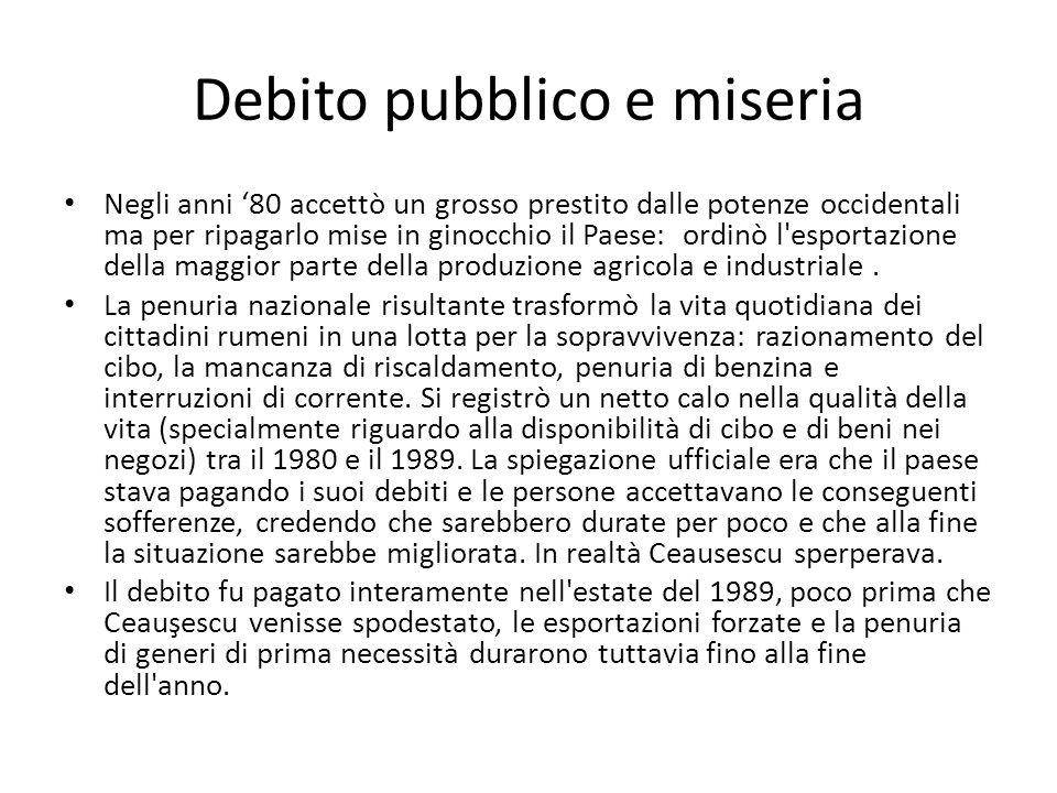 Debito pubblico e miseria Negli anni 80 accettò un grosso prestito dalle potenze occidentali ma per ripagarlo mise in ginocchio il Paese: ordinò l'esp