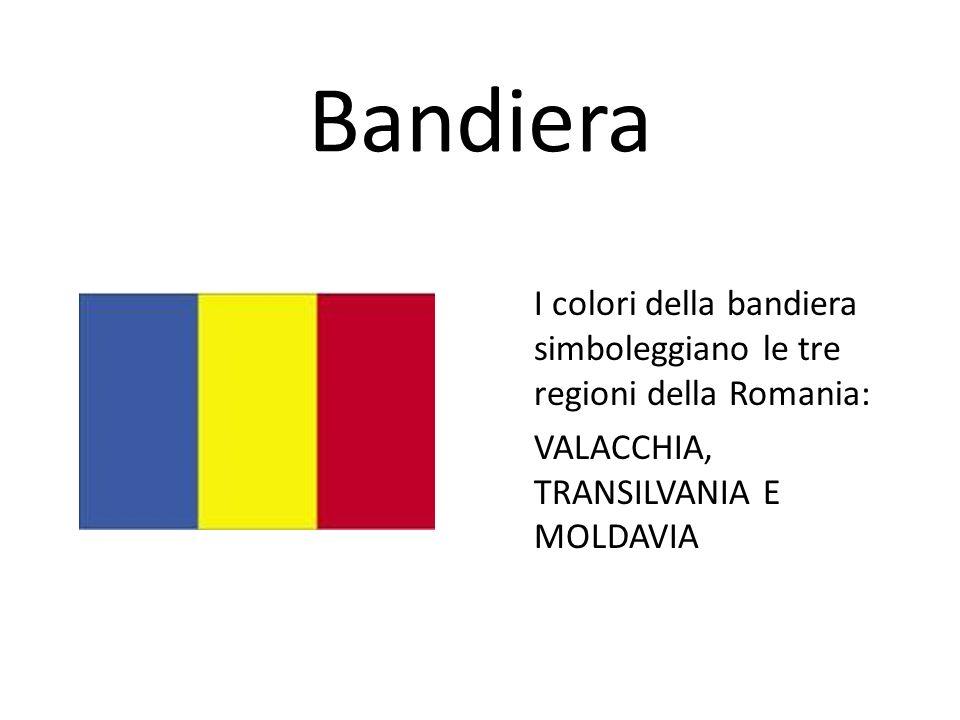 Bandiera I colori della bandiera simboleggiano le tre regioni della Romania: VALACCHIA, TRANSILVANIA E MOLDAVIA