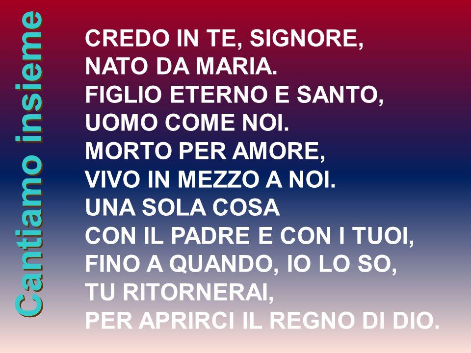 Cantiamo insieme CREDO IN TE, SIGNORE, NATO DA MARIA. FIGLIO ETERNO E SANTO, UOMO COME NOI. MORTO PER AMORE, VIVO IN MEZZO A NOI. UNA SOLA COSA CON IL