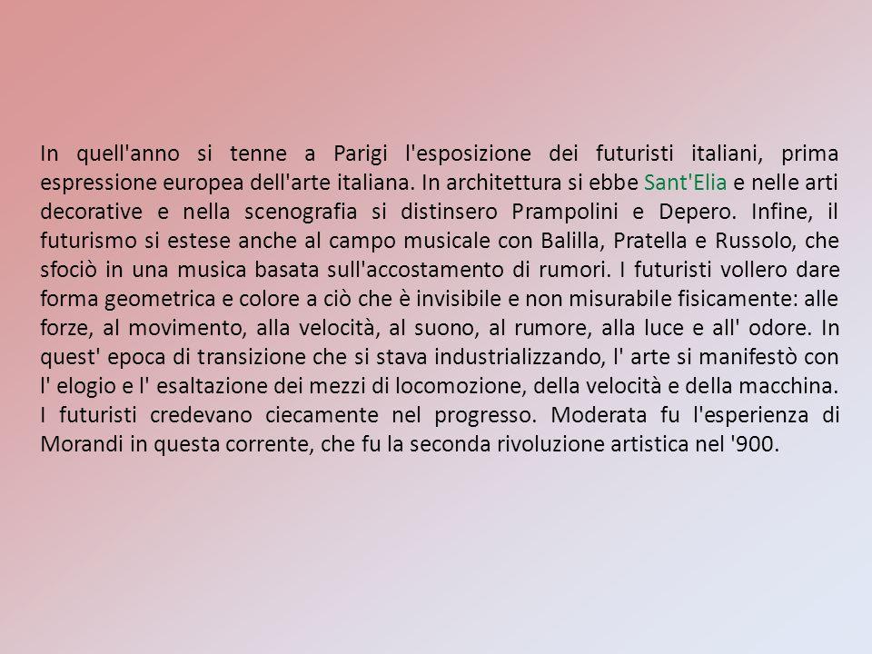 In quell'anno si tenne a Parigi l'esposizione dei futuristi italiani, prima espressione europea dell'arte italiana. In architettura si ebbe Sant'Elia
