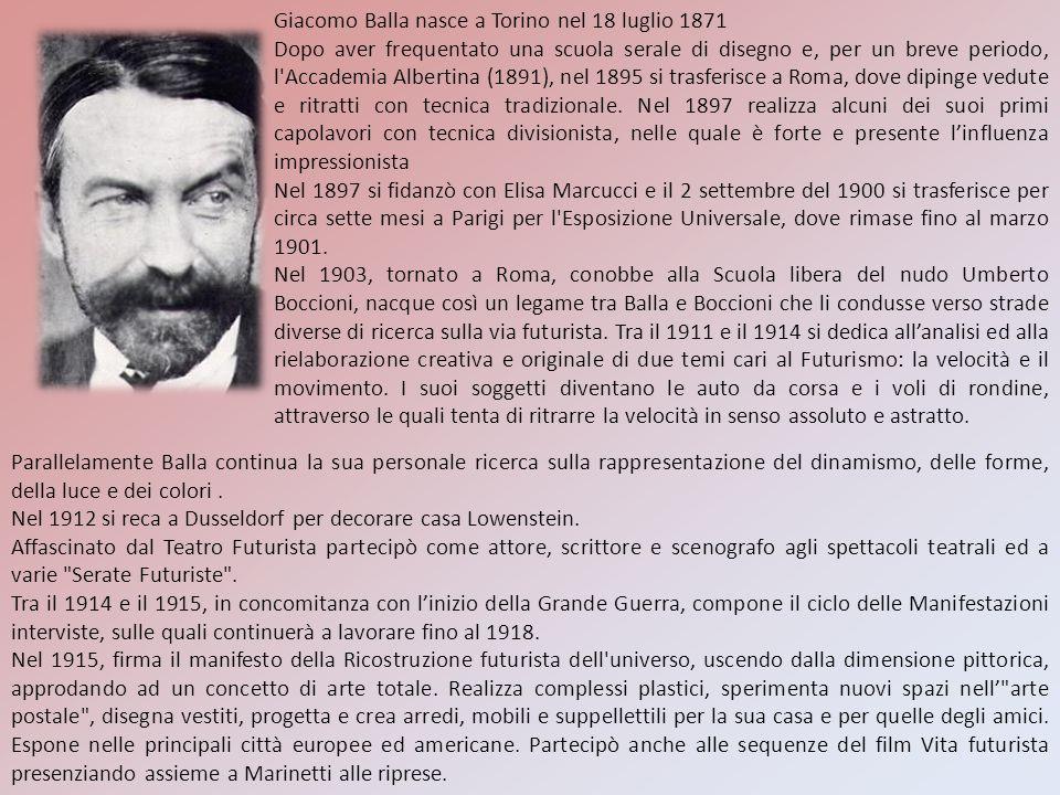 Giacomo Balla nasce a Torino nel 18 luglio 1871 Dopo aver frequentato una scuola serale di disegno e, per un breve periodo, l'Accademia Albertina (189
