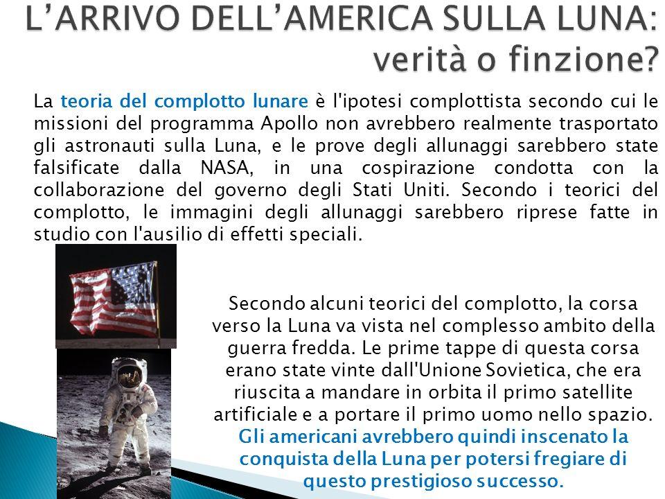 La teoria del complotto lunare è l ipotesi complottista secondo cui le missioni del programma Apollo non avrebbero realmente trasportato gli astronauti sulla Luna, e le prove degli allunaggi sarebbero state falsificate dalla NASA, in una cospirazione condotta con la collaborazione del governo degli Stati Uniti.