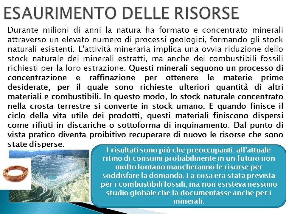 Durante milioni di anni la natura ha formato e concentrato minerali attraverso un elevato numero di processi geologici, formando gli stock naturali esistenti.