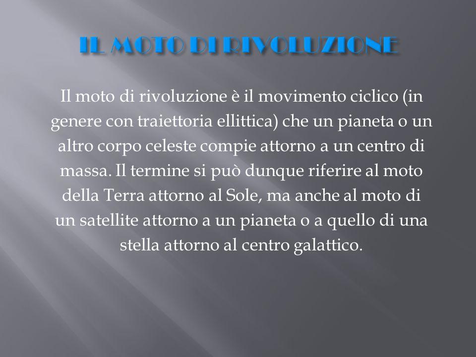 Il moto di rivoluzione è il movimento ciclico (in genere con traiettoria ellittica) che un pianeta o un altro corpo celeste compie attorno a un centro