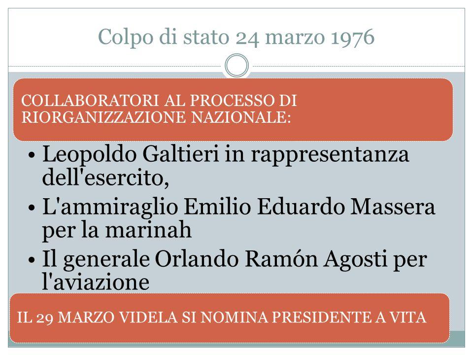 Colpo di stato 24 marzo 1976 COLLABORATORI AL PROCESSO DI RIORGANIZZAZIONE NAZIONALE: Leopoldo Galtieri in rappresentanza dell'esercito, L'ammiraglio