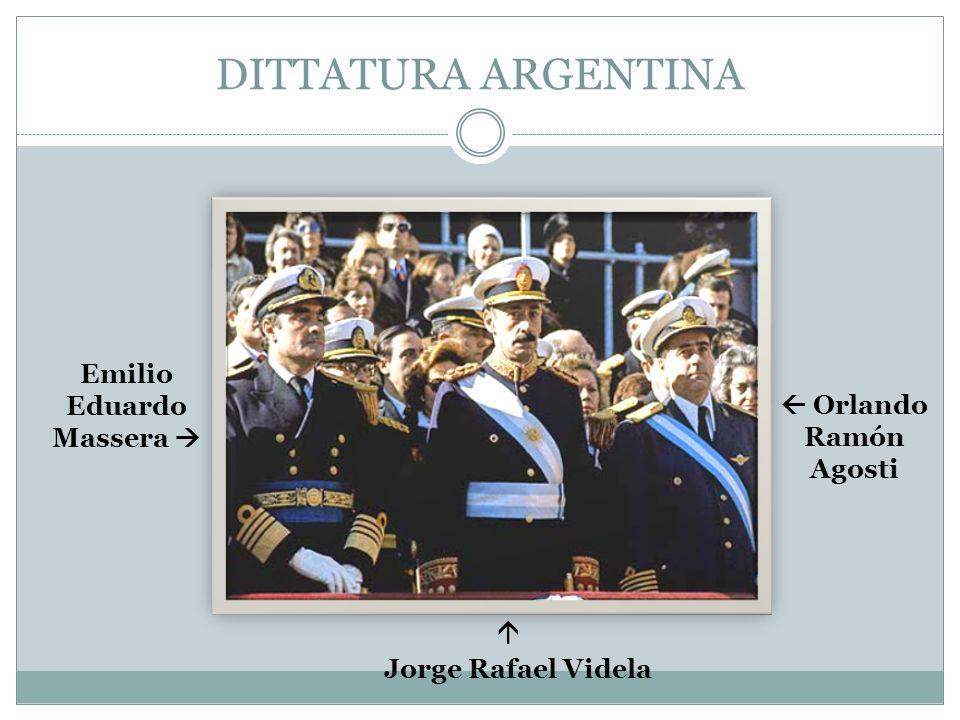 DITTATURA ARGENTINA Emilio Eduardo Massera Jorge Rafael Videla Orlando Ramón Agosti