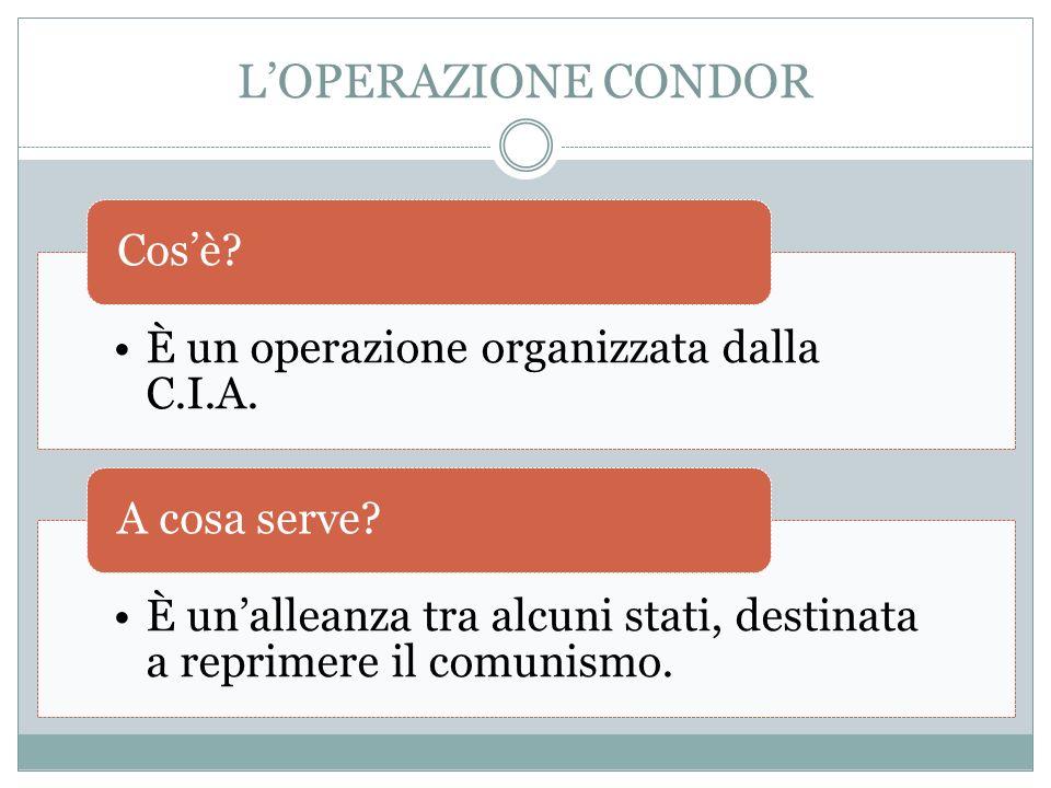 LOPERAZIONE CONDOR È un operazione organizzata dalla C.I.A.